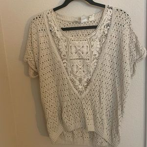 Nude crocheted blouse